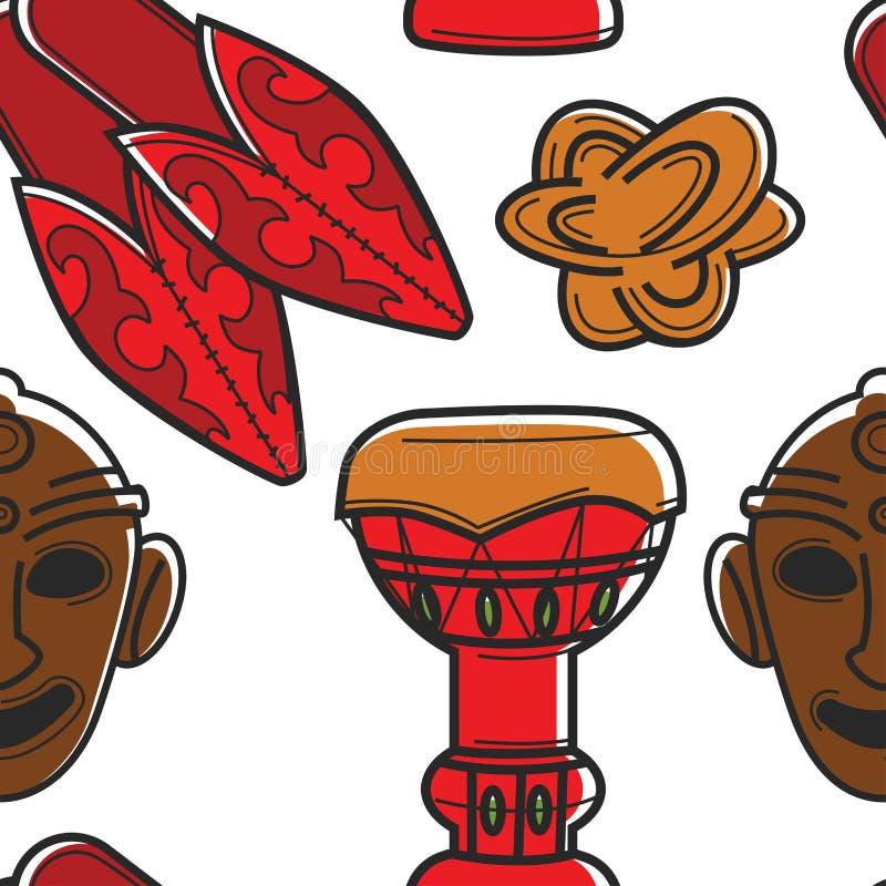Attributi etnici e cultura del modello senza cuciture tunisino di simboli illustrazione di stock