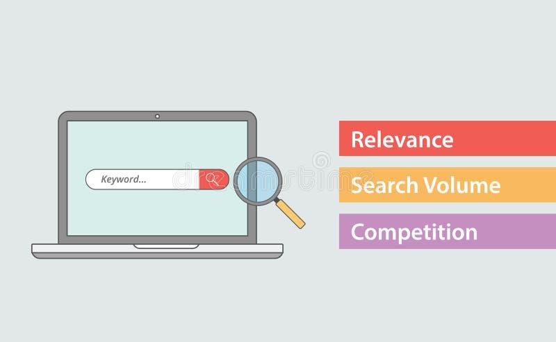 Attributo di parola chiave di Seo con la tre maggior parte delle cose importanti come il volume e la concorrenza di ricerca di ri illustrazione di stock