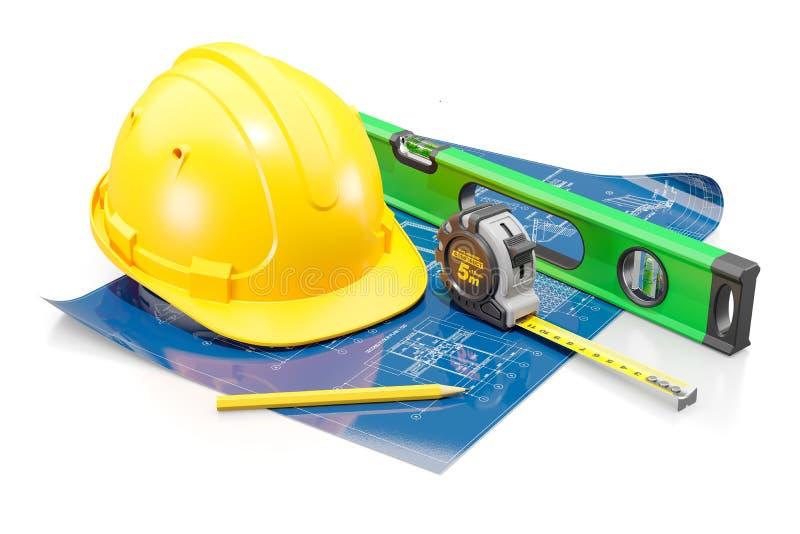 Attributs de l'ingénieur civil Le concept de la conception de construction et de logement illustration libre de droits