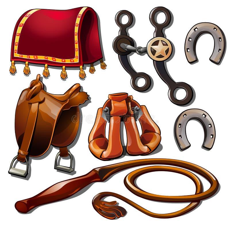 Attributs des accessoires de cowboy et de cheval Ensemble de sept icônes occidentales sauvages d'isolement Vecteur dans le style  illustration de vecteur