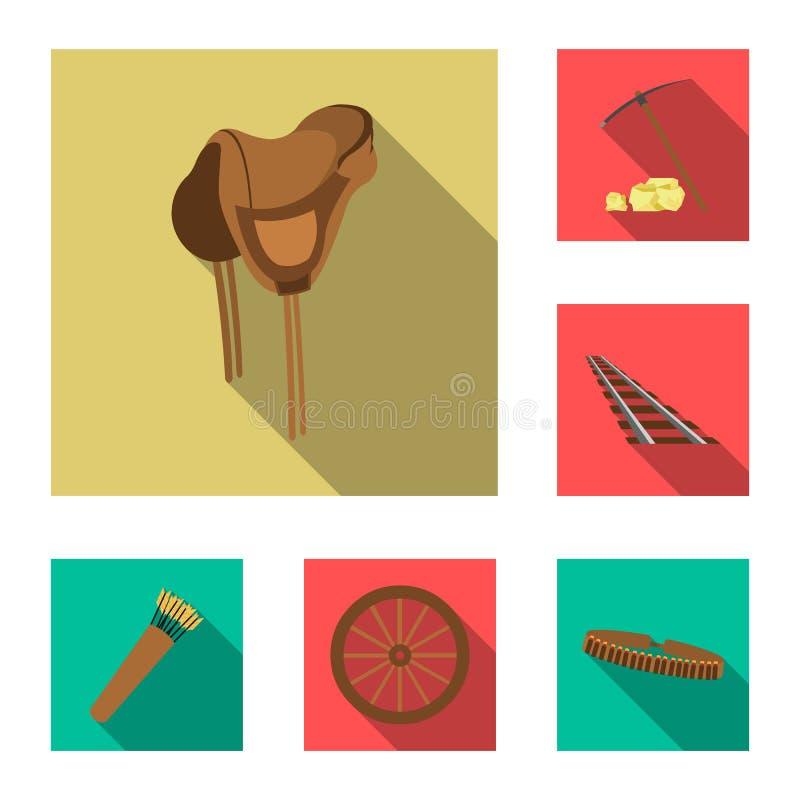 Attributs des icônes plates occidentales sauvages dans la collection d'ensemble pour la conception Web d'actions de symbole de ve illustration de vecteur