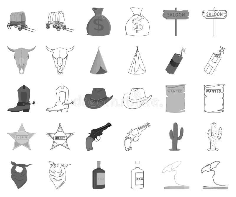 Attributs du monochrome occidental sauvage, icônes d'ensemble dans la collection réglée pour la conception Actions de symbole de  illustration stock