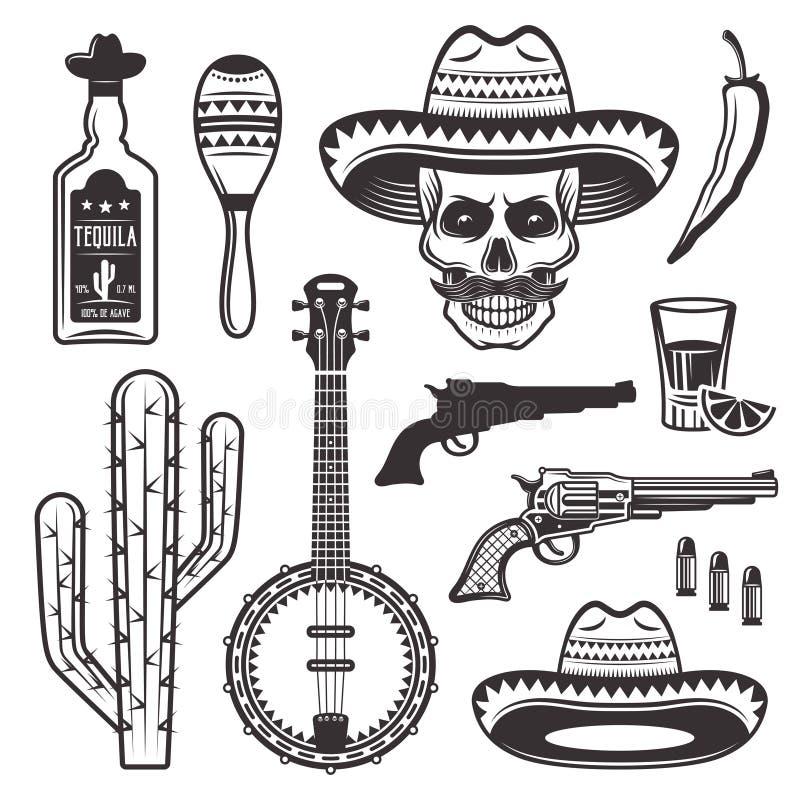 Attributs ethniques mexicains réglés des objets de vecteur illustration libre de droits
