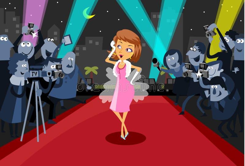 Attrice di Hollywood sul tappeto rosso illustrazione di stock