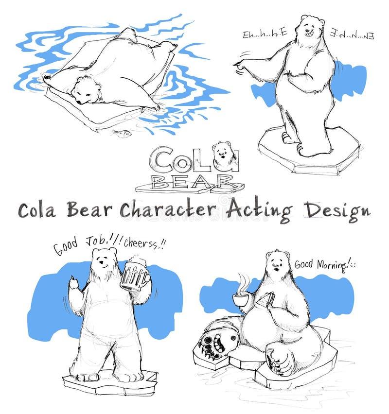 Atuação dos desenhos animados do urso da cola do projeto de caráter ilustração stock