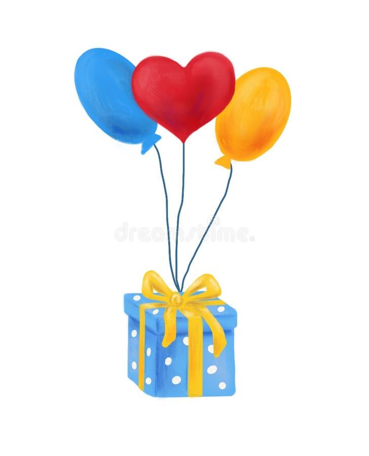 Atual e baloons, cartão do feriado, ilustração, bandeira imagens de stock