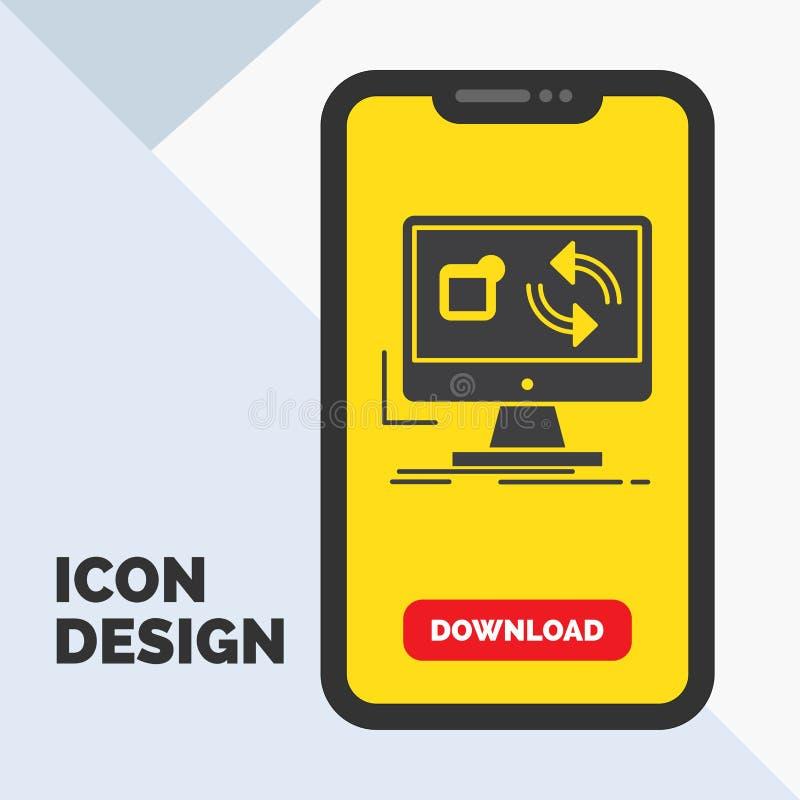a atualização, app, aplicação, instala, ícone do Glyph da sincronização no móbil para a página da transferência Fundo amarelo ilustração stock