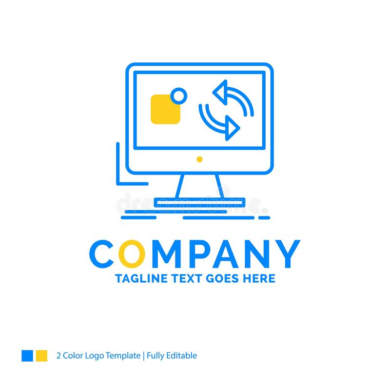 a atualização, app, aplicação, instala, log amarelo azul do negócio da sincronização ilustração do vetor