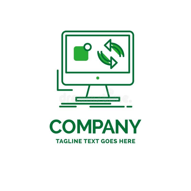 a atualização, app, aplicação, instala, templ liso do logotipo do negócio da sincronização ilustração stock
