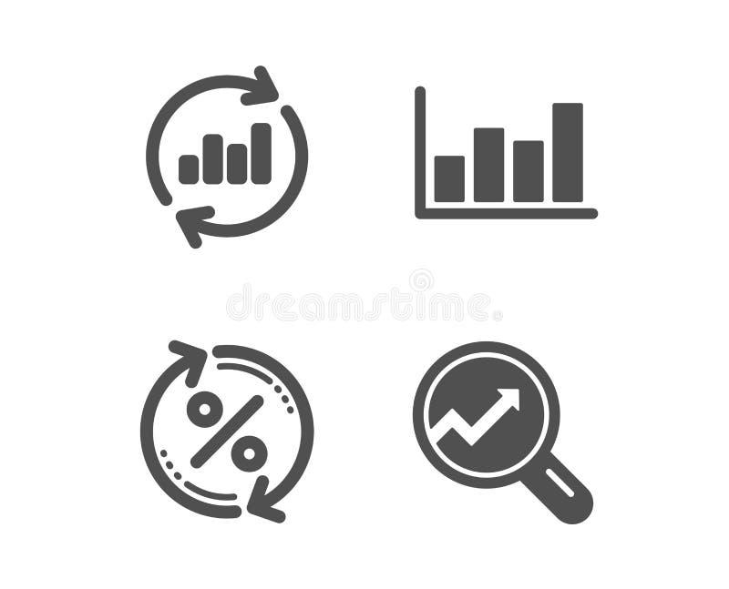 Atualize dados, por cento do empréstimo e de diagrama do relatório ícones Sinal da anal?tica Carta das vendas, taxa da mudança, m ilustração do vetor