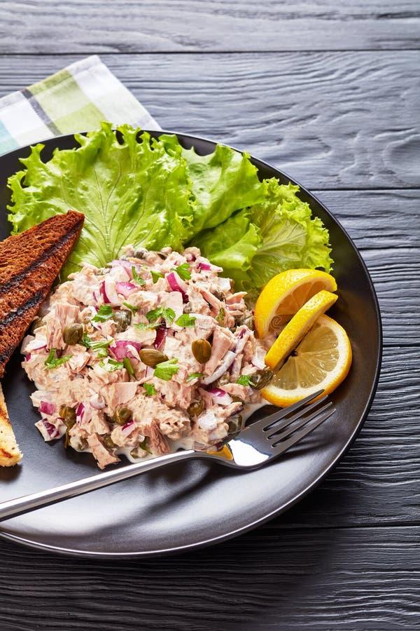 Atum, alcaparras, salada da cebola com brindes imagens de stock royalty free