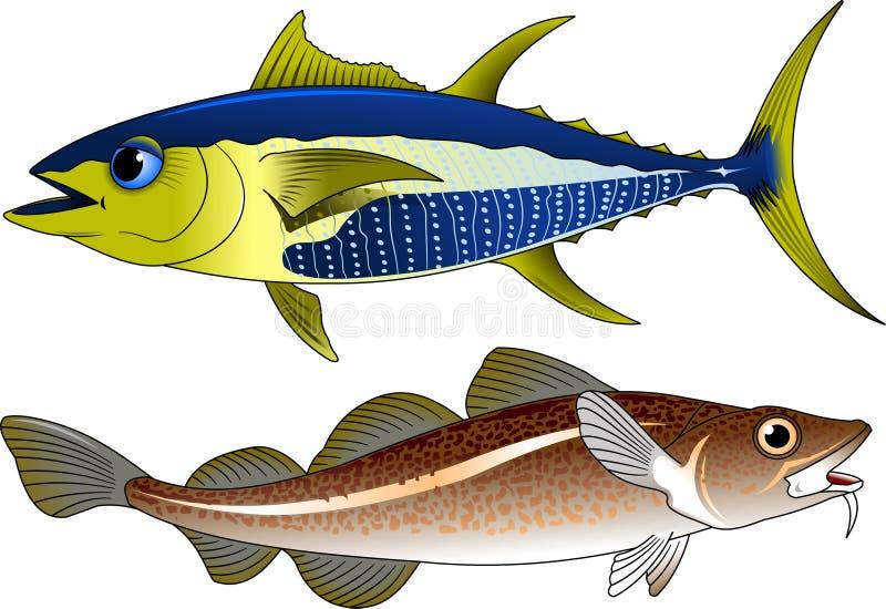 Atum e bacalhaus ilustração do vetor