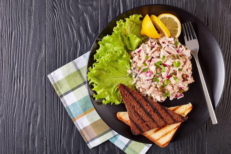 Atum enlatado, alcaparras, salada da cebola vermelha fotografia de stock royalty free