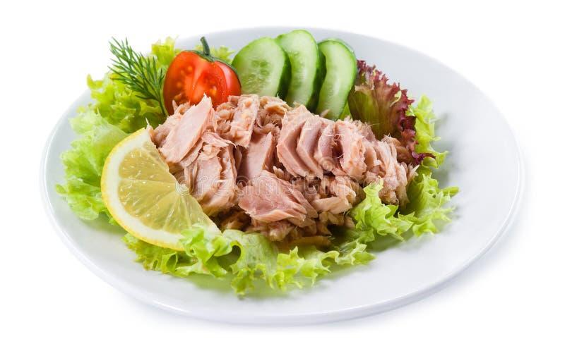 Atum enlatado com salada e o limão vegetais foto de stock royalty free