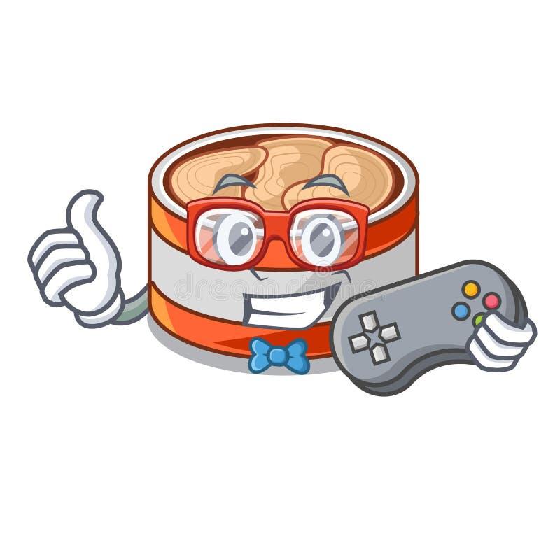 Atum enlatado Gamer na forma dos desenhos animados ilustração royalty free