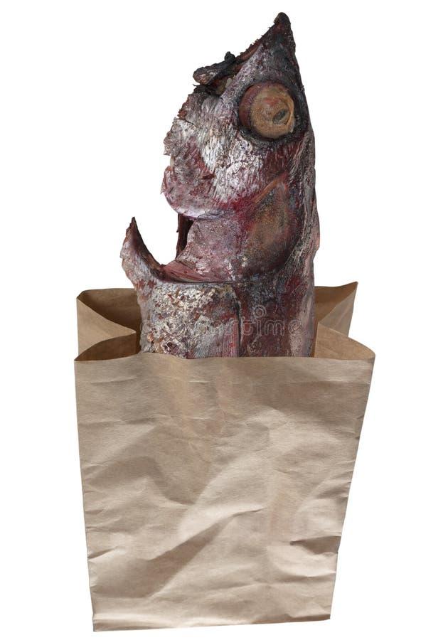 Atum fritado com o saco de papel isolado no fundo branco fotos de stock royalty free