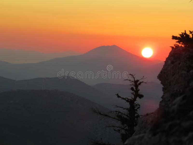 An atumn sunset from a high cliff stock images