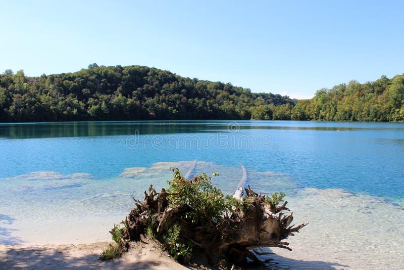 Aturdiendo el agua en el color azulverde, causado por los glaciares de fusión que no se mezclan con agua más caliente del lago fotografía de archivo libre de regalías