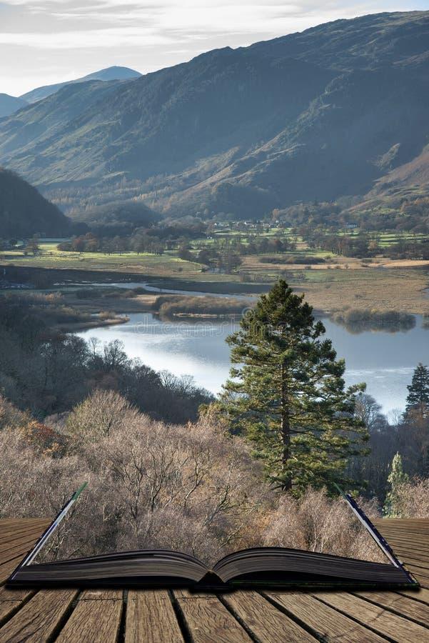 Aturdindo a imagem da paisagem de Autumn Fall da vista da rota ao penhasco de Walla perto da água de Derwent no distrito do lago  imagens de stock royalty free