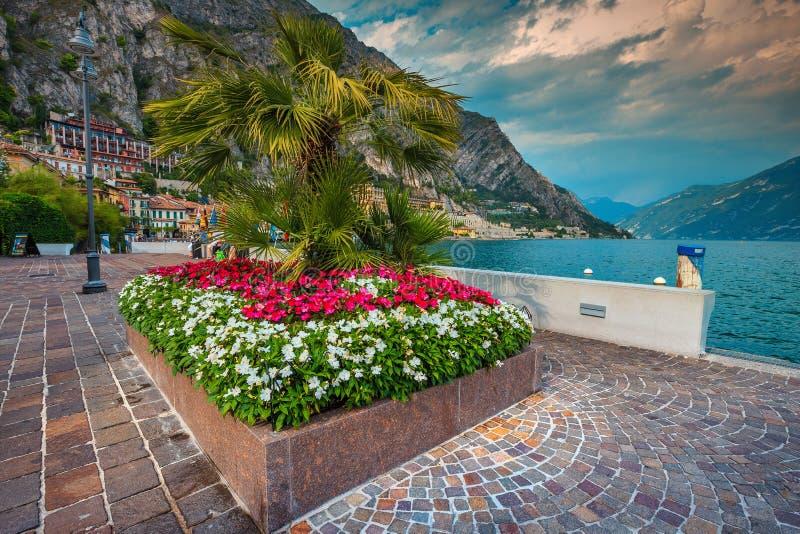 Aturdindo o passeio com flores coloridas, sul Garda de Limone, Lombardy, Itália imagem de stock royalty free
