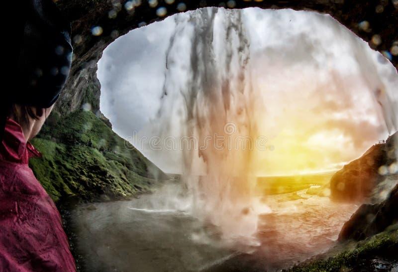 Aturdindo quedas de Seljalandsfoss imagens de stock royalty free