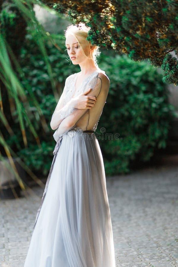 Aturdir el retrato de la novia en vestido que se casa hermoso en fondo natural fotografía de archivo