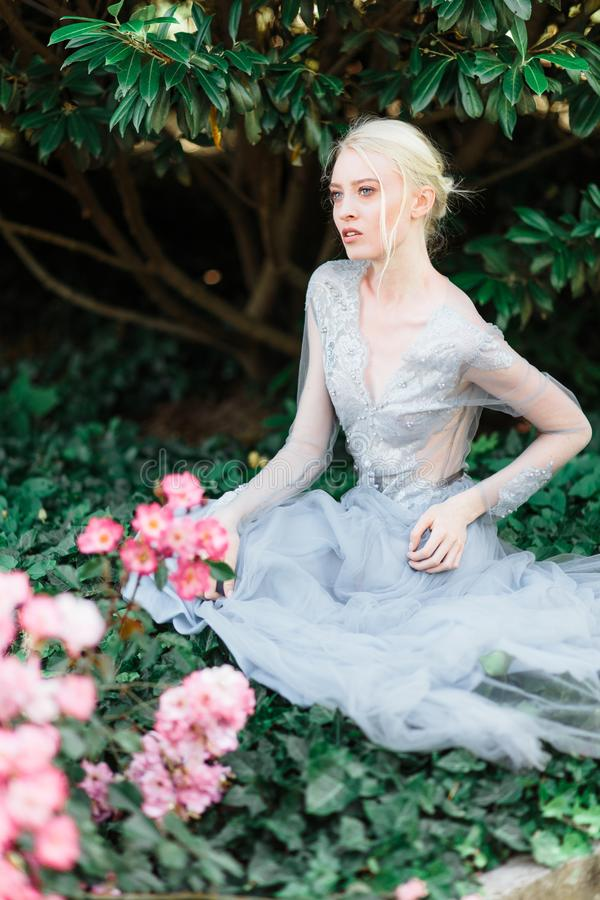 Aturdir el retrato de la novia en vestido que se casa hermoso en fondo natural foto de archivo