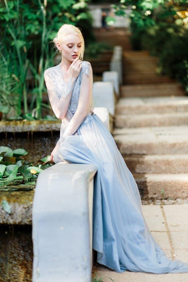Aturdir el retrato de la novia en vestido que se casa hermoso en fondo natural fotos de archivo