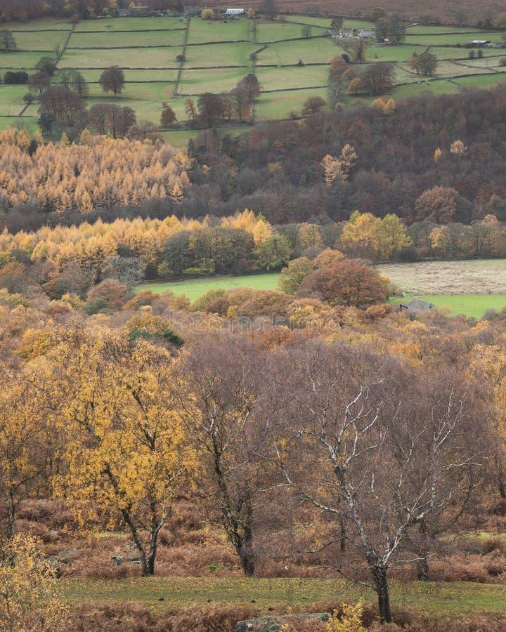Aturdir escena del paisaje de Autumn Fall de la opinión de la sorpresa en distrito máximo en Inglaterra imagen de archivo libre de regalías