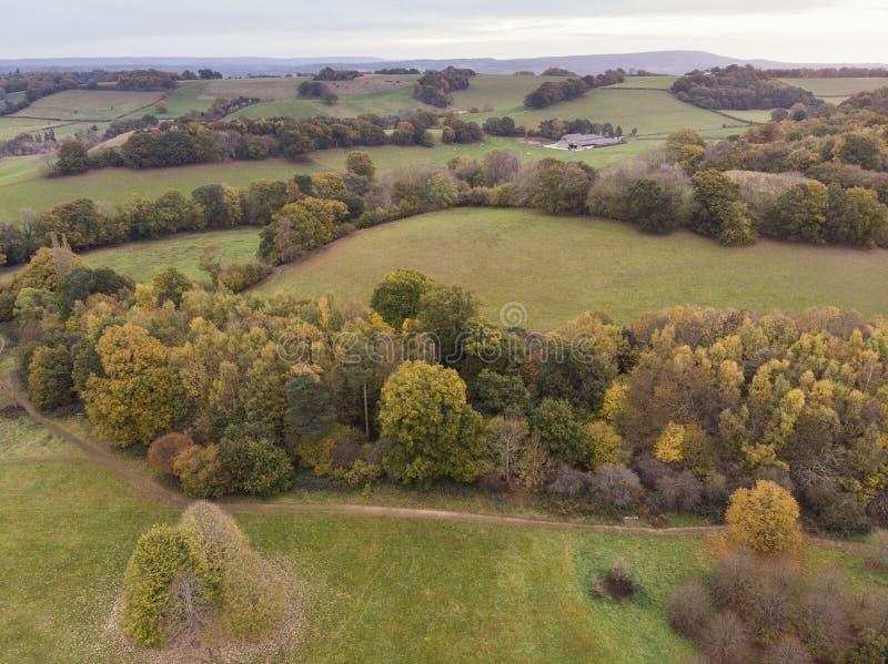 Aturdir imagen aérea del paisaje del abejón del paisaje vibrante colorido imponente del campo de Autumn Fall English imágenes de archivo libres de regalías