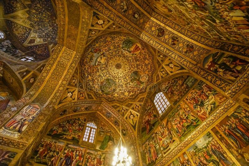 Aturdir la bóveda adornada de la catedral de Vank, Isfahán, Irán imagen de archivo libre de regalías