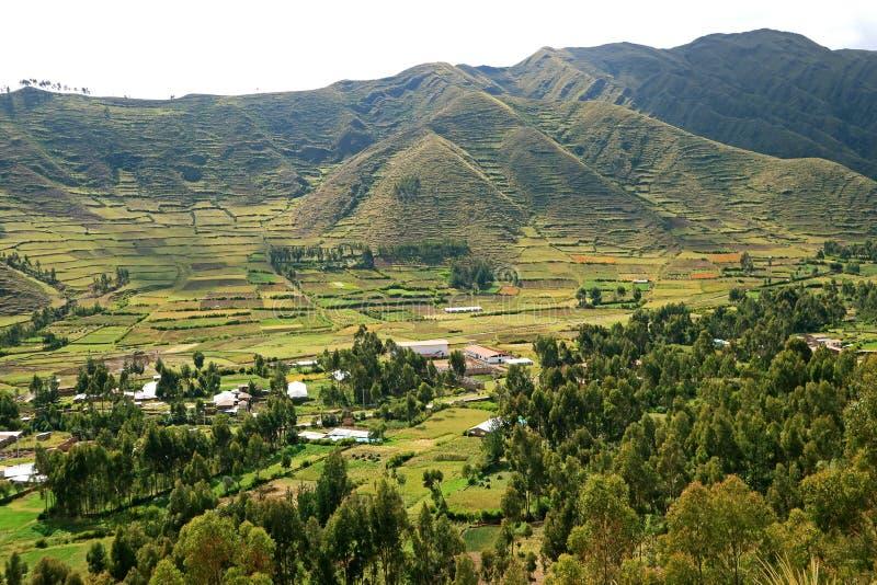 Aturdir terrazas agrícolas enormes del campo de la región de Cusco, valle sagrado de los incas, Perú foto de archivo libre de regalías