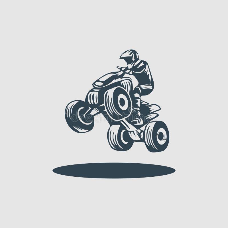 ATV自行车车手组合图案设计商标启发 皇族释放例证