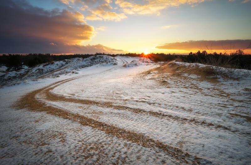 ATV auto sport track at winter. Wheel sandy tracks stock photos