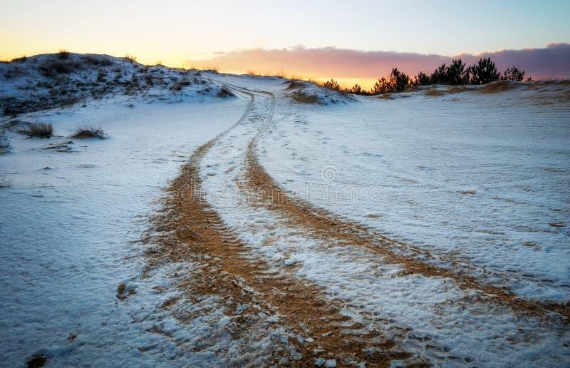 ATV auto sport track at winter. Wheel sandy tracks royalty free stock images