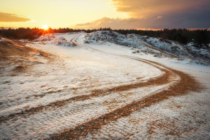 ATV auto sport track at winter. Wheel sandy tracks stock images
