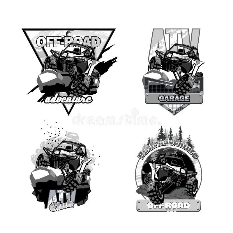 ATV campo a través con errores, logotipo blanco y negro stock de ilustración