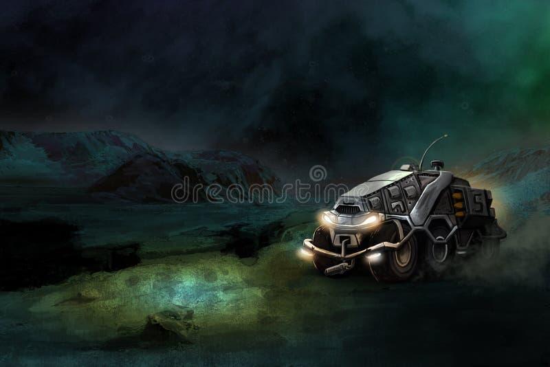 ATV futuriste le grand désert martien photographie stock libre de droits