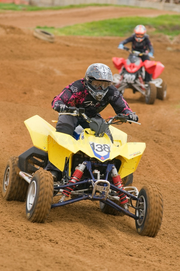 Free ATV Motocross Rider Racing Down The Straight Royalty Free Stock Images - 6749749
