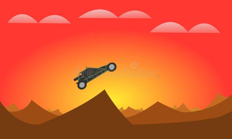 Atv no sol do deserto ilustração stock