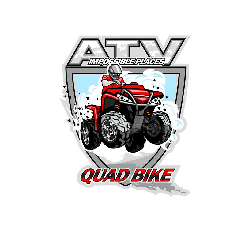 ATV Off-Road Impossible Places with red quadbike, isolated background stock photos