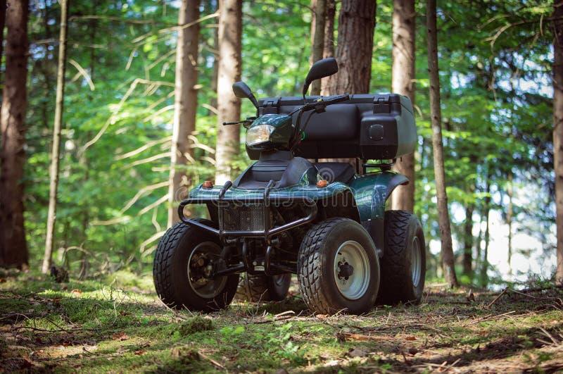ATV parkujący w parking w lasowej dobrej pogodzie zdjęcie stock