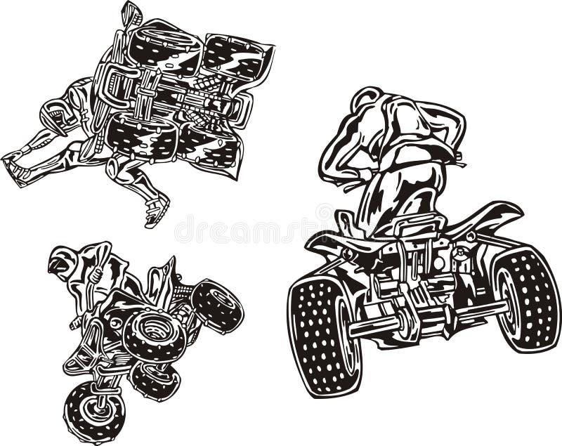 Download ATV Riders 3. stock vector. Image of danger, quadbike - 14459611