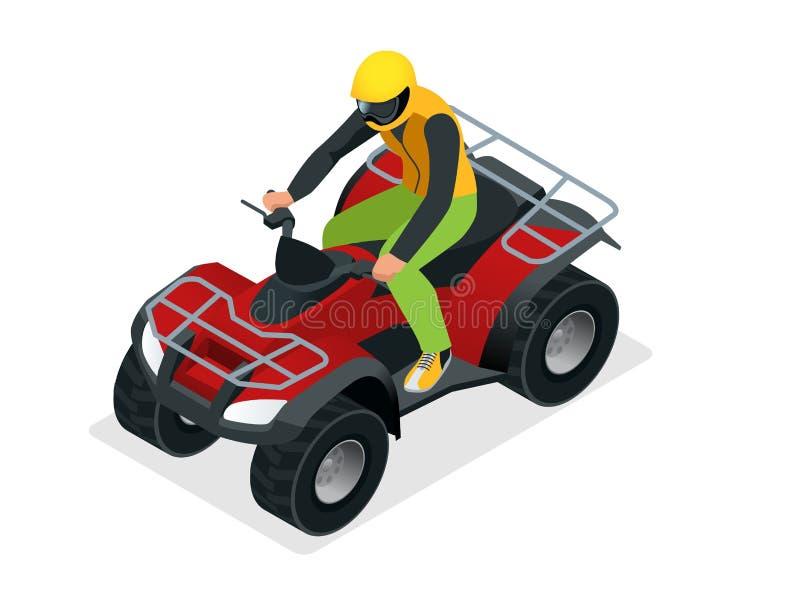 ATV-ryttare i handlingen Illustration för vektor för kvadratcykel ATV isometrisk Motocrosscykelsymbol royaltyfri illustrationer