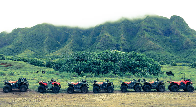 ATVs en fila fotografía de archivo