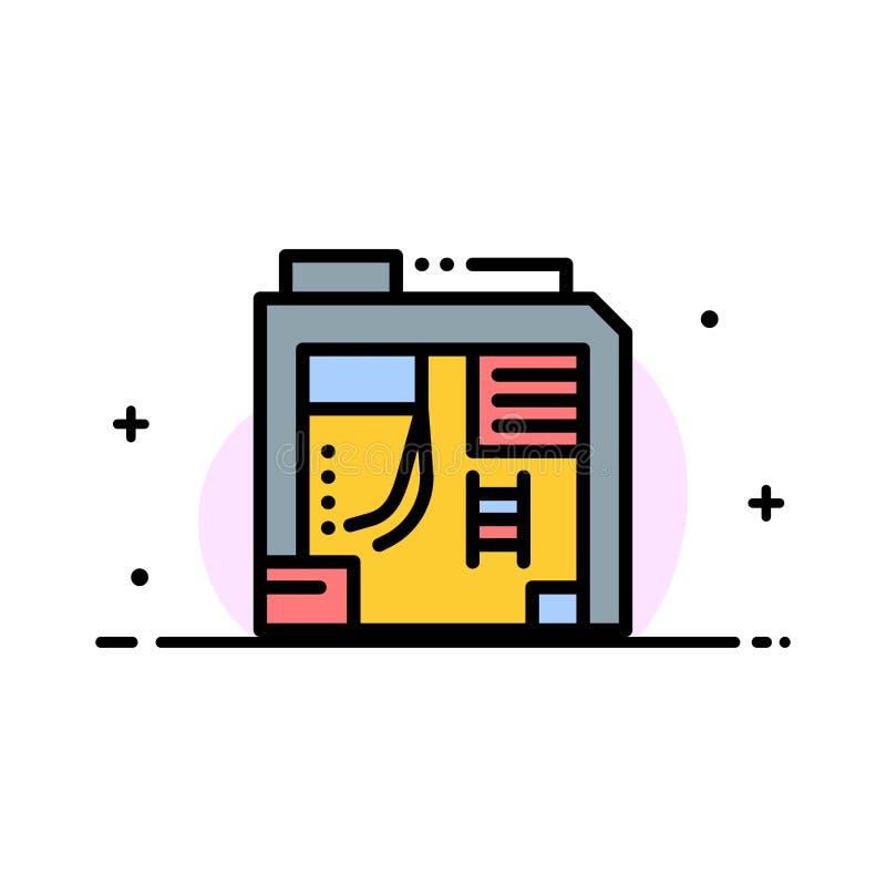 Atx asken, fallet, plan linje för datoraffär fyllde mallen för symbolsvektorbanret stock illustrationer