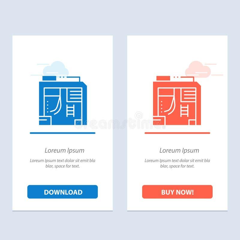 Atx, scatola, caso, blu del computer e download rosso ed ora comprare il modello della carta del widget di web illustrazione di stock