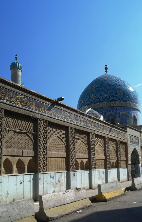 Außenansicht von Haydar-Khana Mosque, Bagdad, der Irak stockbilder