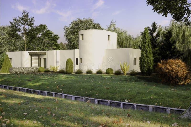 Außenentwurf der modernen unbedeutenden Illustration des Gebäudes 3D stock abbildung