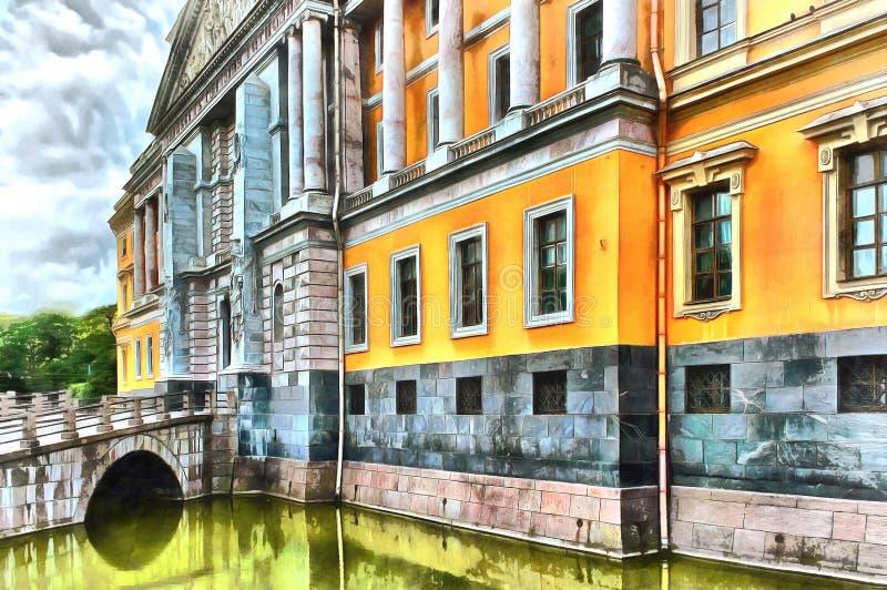 Außenfassade des Mikhailovsky-Schlosses in St Petersburg vektor abbildung
